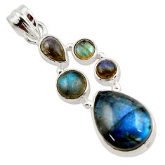 14.37cts natural blue labradorite 925 sterling silver pendant jewelry r43095