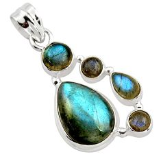 14.41cts natural blue labradorite 925 sterling silver pendant jewelry r43096
