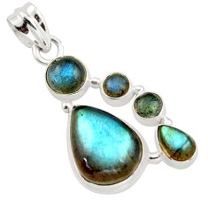 14.45cts natural blue labradorite 925 sterling silver pendant jewelry r43097