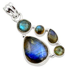 14.56cts natural blue labradorite 925 sterling silver pendant jewelry r43098