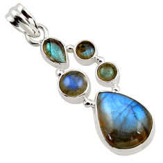 14.06cts natural blue labradorite 925 sterling silver pendant jewelry r43099