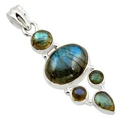 14.43cts natural blue labradorite 925 sterling silver pendant jewelry r43100