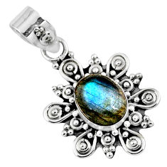 2.90cts natural blue labradorite 925 sterling silver pendant jewelry r57678