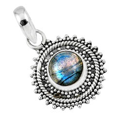 3.17cts natural blue labradorite 925 sterling silver pendant jewelry r57679
