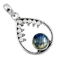 3.03cts natural blue labradorite 925 sterling silver pendant jewelry r57700