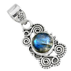 2.90cts natural blue labradorite 925 sterling silver pendant jewelry r57717