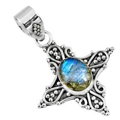 3.17cts natural blue labradorite 925 sterling silver pendant jewelry r57718