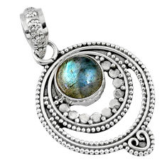 3.11cts natural blue labradorite 925 sterling silver pendant jewelry r57734