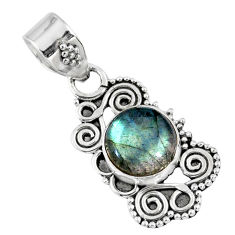 3.03cts natural blue labradorite 925 sterling silver pendant jewelry r57735