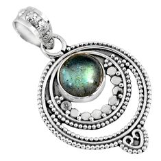 3.11cts natural blue labradorite 925 sterling silver pendant jewelry r57736