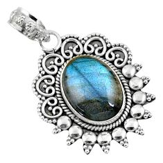 5.84cts natural blue labradorite 925 sterling silver pendant jewelry r57817