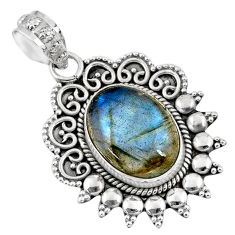6.31cts natural blue labradorite 925 sterling silver pendant jewelry r57818