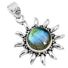 6.36cts natural blue labradorite 925 sterling silver pendant jewelry r57837