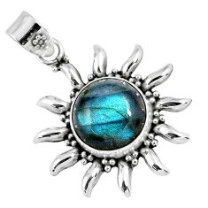 6.08cts natural blue labradorite 925 sterling silver pendant jewelry r57838
