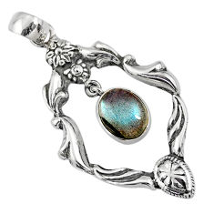 4.15cts natural blue labradorite 925 sterling silver pendant jewelry r67562