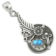 2.19cts natural blue labradorite 925 sterling silver pendant jewelry r67613