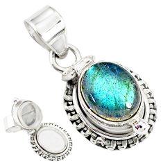 4.92cts natural blue labradorite 925 silver handmade pendant r76440