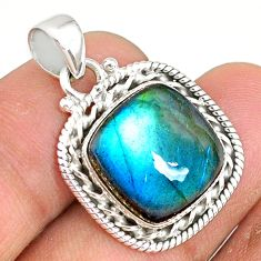12.97cts natural blue labradorite 925 sterling silver pendant jewelry r77510