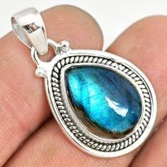 9.49cts natural blue labradorite 925 silver handmade pendant r77521