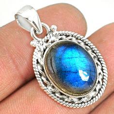 9.99cts natural blue labradorite 925 silver handmade pendant r77529