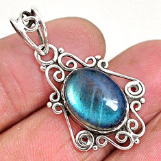 6.15cts natural blue labradorite 925 sterling silver pendant jewelry r93950