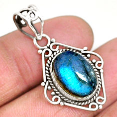 6.56cts natural blue labradorite 925 sterling silver pendant jewelry r93970