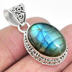 14.21cts natural blue labradorite 925 sterling silver pendant jewelry t10620