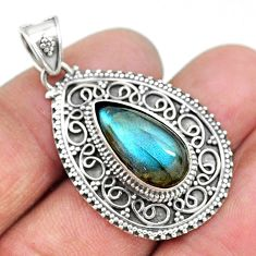 7.35cts natural blue labradorite 925 sterling silver pendant jewelry t10655