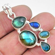 14.12cts natural blue labradorite 925 sterling silver pendant jewelry t10659
