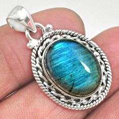 10.41cts natural blue labradorite 925 sterling silver pendant jewelry t11051