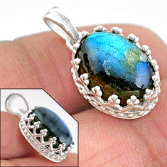 6.28cts natural blue labradorite 925 sterling silver pendant jewelry t20452