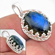 6.28cts natural blue labradorite 925 sterling silver pendant jewelry t20454