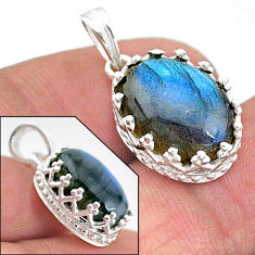 5.87cts natural blue labradorite 925 sterling silver pendant jewelry t20457