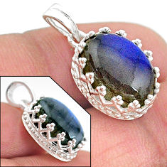 6.26cts natural blue labradorite 925 sterling silver pendant jewelry t20458
