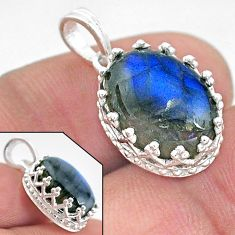 5.81cts natural blue labradorite 925 sterling silver pendant jewelry t20460