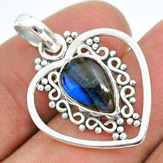 4.06cts natural blue labradorite 925 sterling silver pendant jewelry t35736