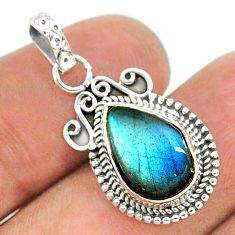 4.52cts natural blue labradorite 925 sterling silver pendant jewelry t35818