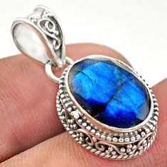 6.28cts natural blue labradorite 925 sterling silver pendant jewelry t42168
