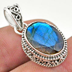 6.59cts natural blue labradorite 925 sterling silver pendant jewelry t42172