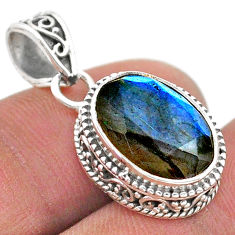 6.35cts natural blue labradorite 925 sterling silver pendant jewelry t42186