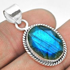 9.18cts natural blue labradorite 925 sterling silver pendant jewelry t53611