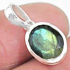 3.81cts natural blue labradorite 925 sterling silver pendant jewelry t9119