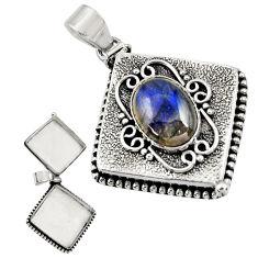 6.43cts natural blue labradorite 925 sterling silver poison box pendant r30634