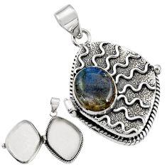 5.24cts natural blue labradorite 925 sterling silver poison box pendant r30678