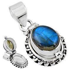 5.53cts natural blue labradorite 925 sterling silver poison box pendant r55670