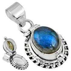 5.41cts natural blue labradorite 925 sterling silver poison box pendant r55671