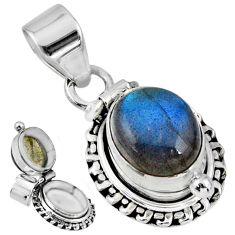 5.52cts natural blue labradorite 925 sterling silver poison box pendant r55672