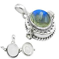 5.01cts natural blue labradorite 925 sterling silver poison box pendant t52714