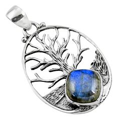 5.10cts natural blue labradorite 925 sterling silver tree of life pendant r52998