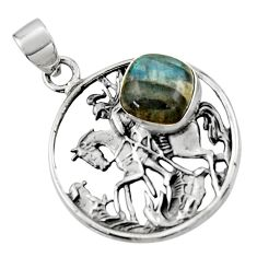 5.12cts natural blue labradorite 925 sterling silver unicorn pendant r52780
